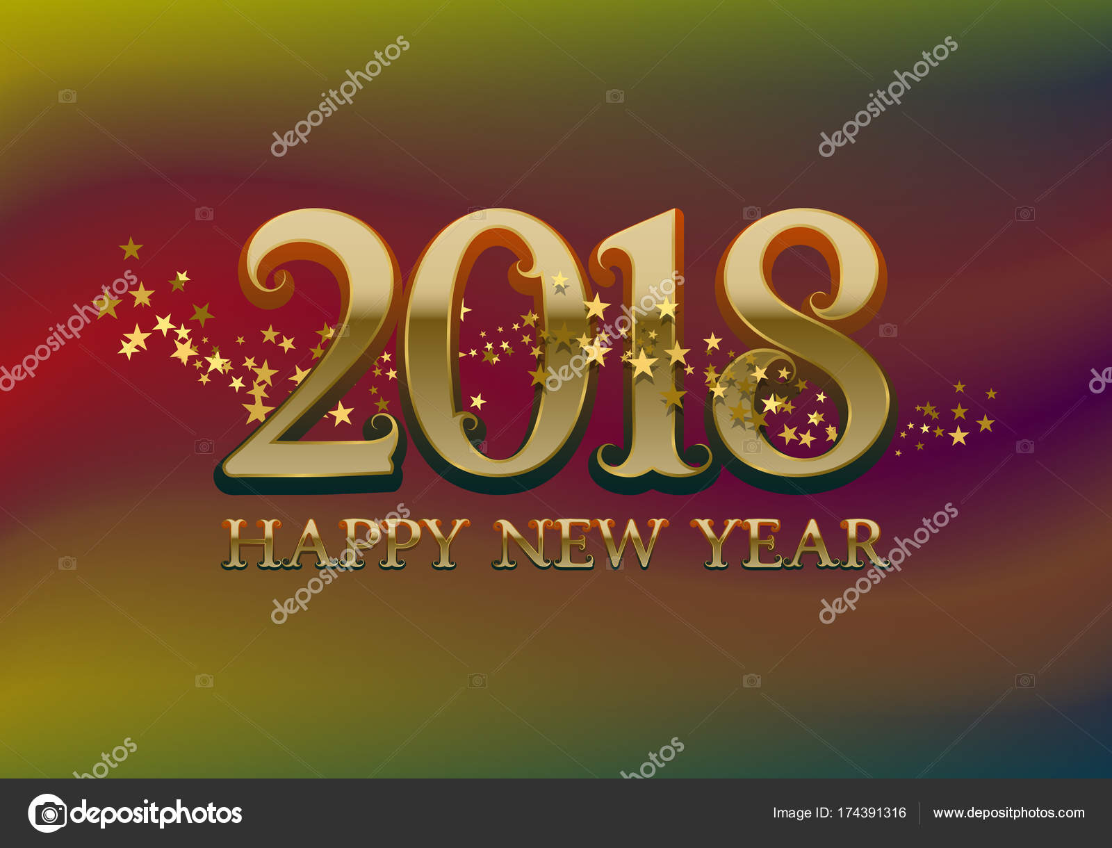 2018 Happy New Year Greeting Card Template On Colorful Blended