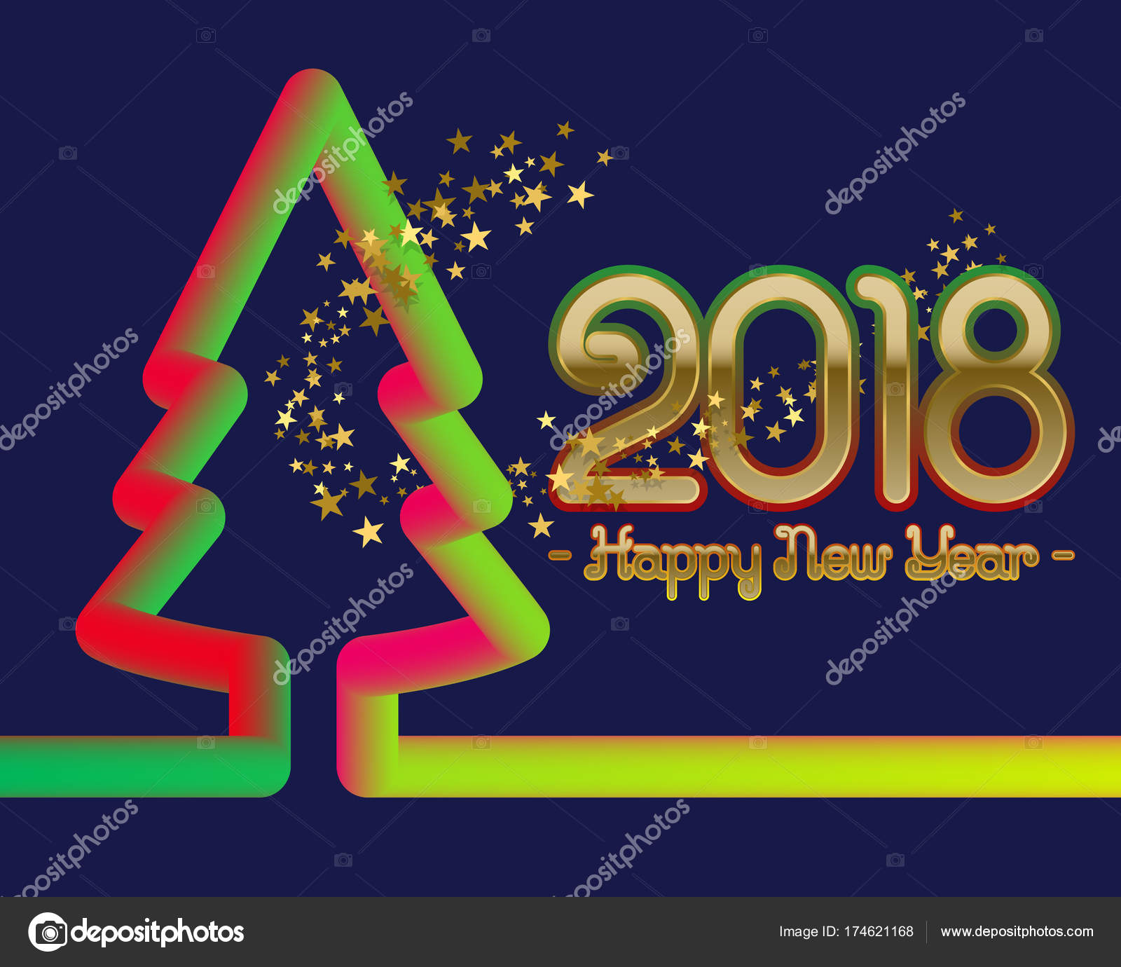 2018 Happy New Year Greeting Card Template With Fluid Colors