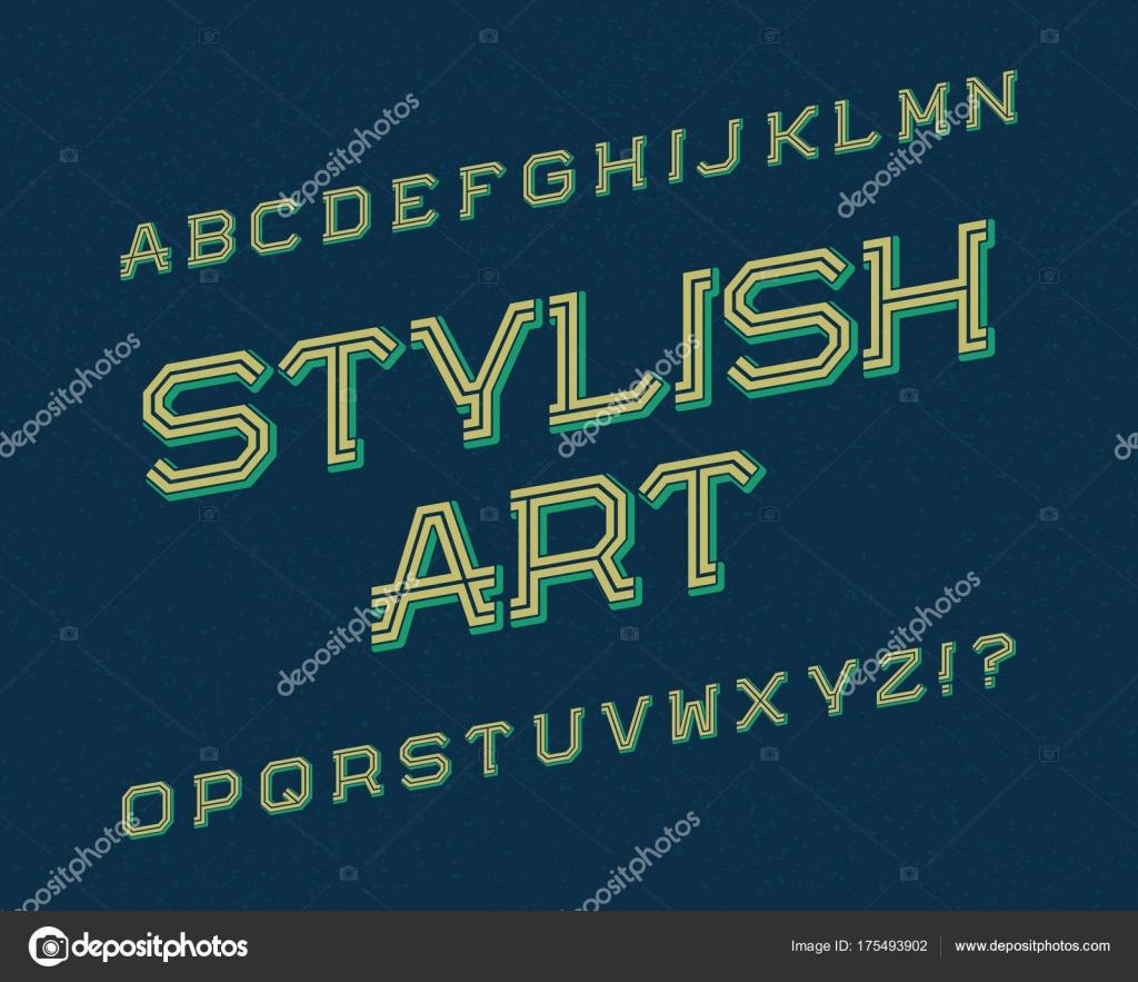 Stylish Art Typeface Retro Font Isolated English Alphabet Vector By Vectordivider