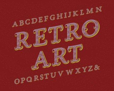 Retro Art typeface. Vintage font. Isolated english alphabet.