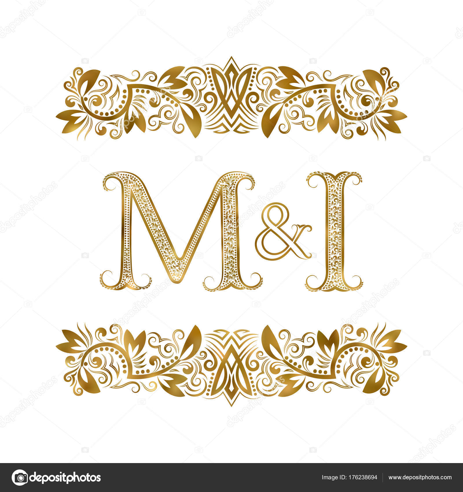 M And I Vintage Initials Logo Symbol The Letters Are Surrounded By Ornamental Elements Wedding Or Business Partners Monogram In Royal Style