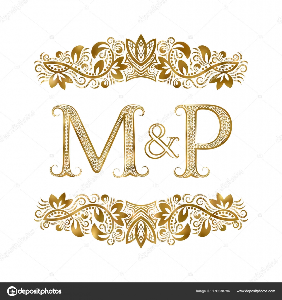 M And P Vintage Initials Logo Symbol The Letters Are Surrounded By