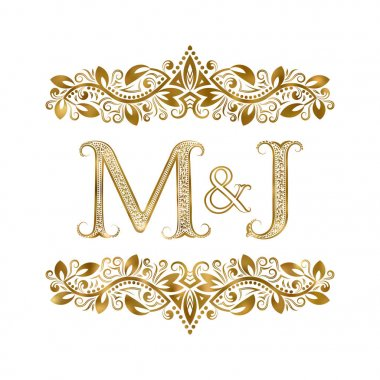 M and J vintage initials logo symbol. The letters are surrounded by ornamental elements. Wedding or business partners monogram in royal style.