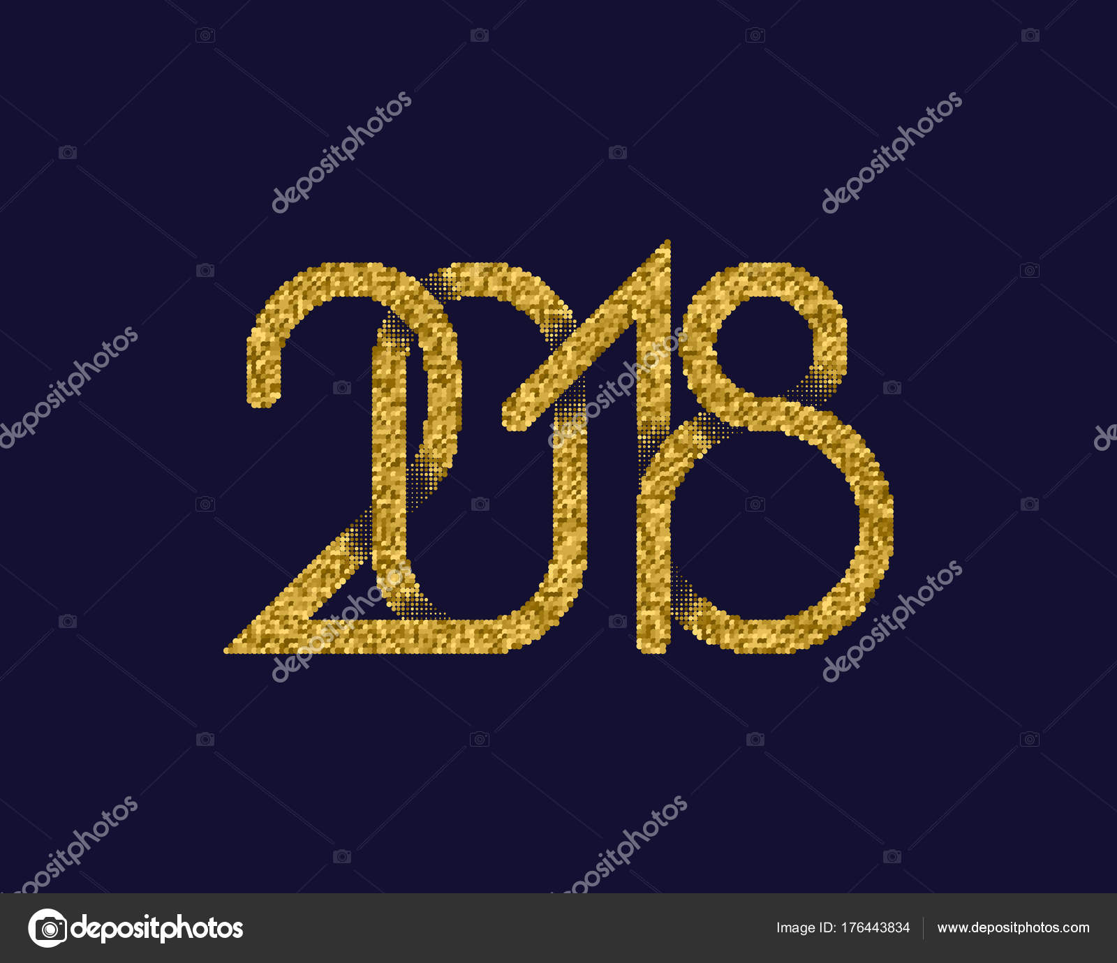 Gold Placer Plexus Of Numbers 2018 Glittering New Year Greeting