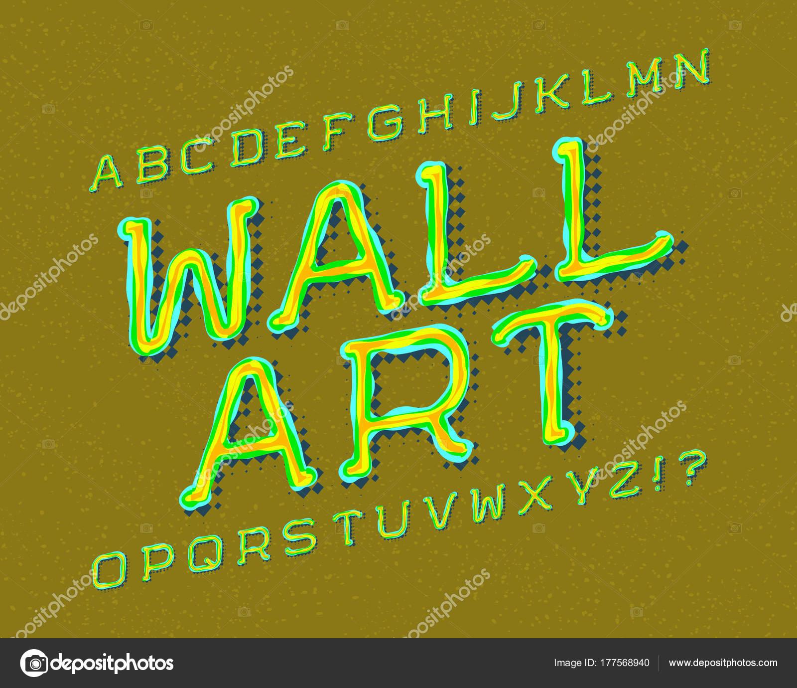 Wall Art typeface. Graffiti font. Isolated english alphabet. — Stock ...