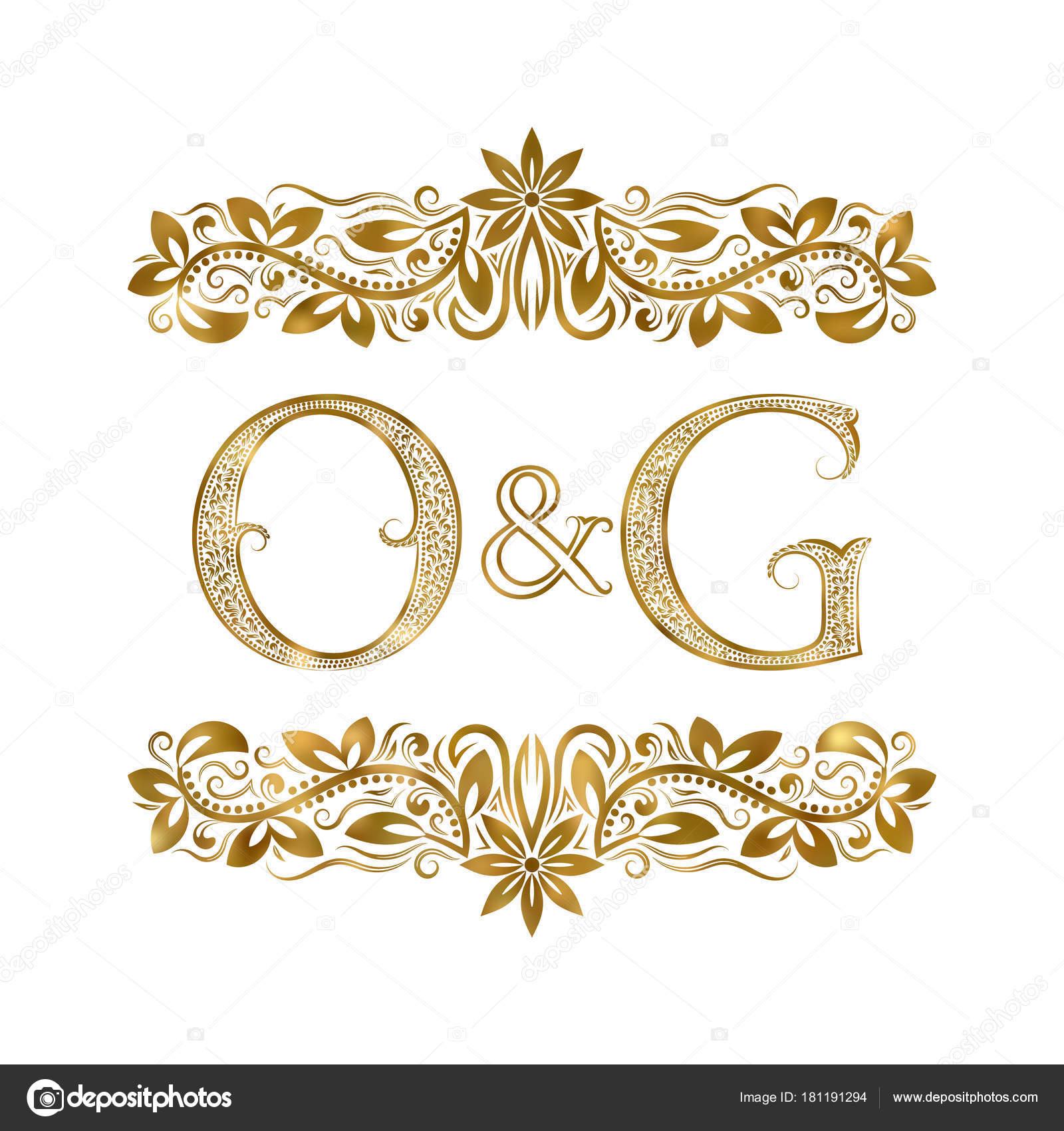 O and g vintage initials logo symbol the letters are surrounded stock illustration o and g vintage initials logo symbol the letters are surrounded by ornamental elements buycottarizona