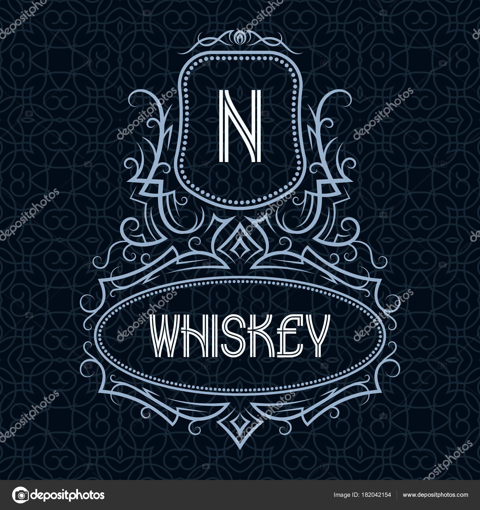 Whiskey Label Design Template Patterned Vintage Monogram With Text On Seamless Pattern Background