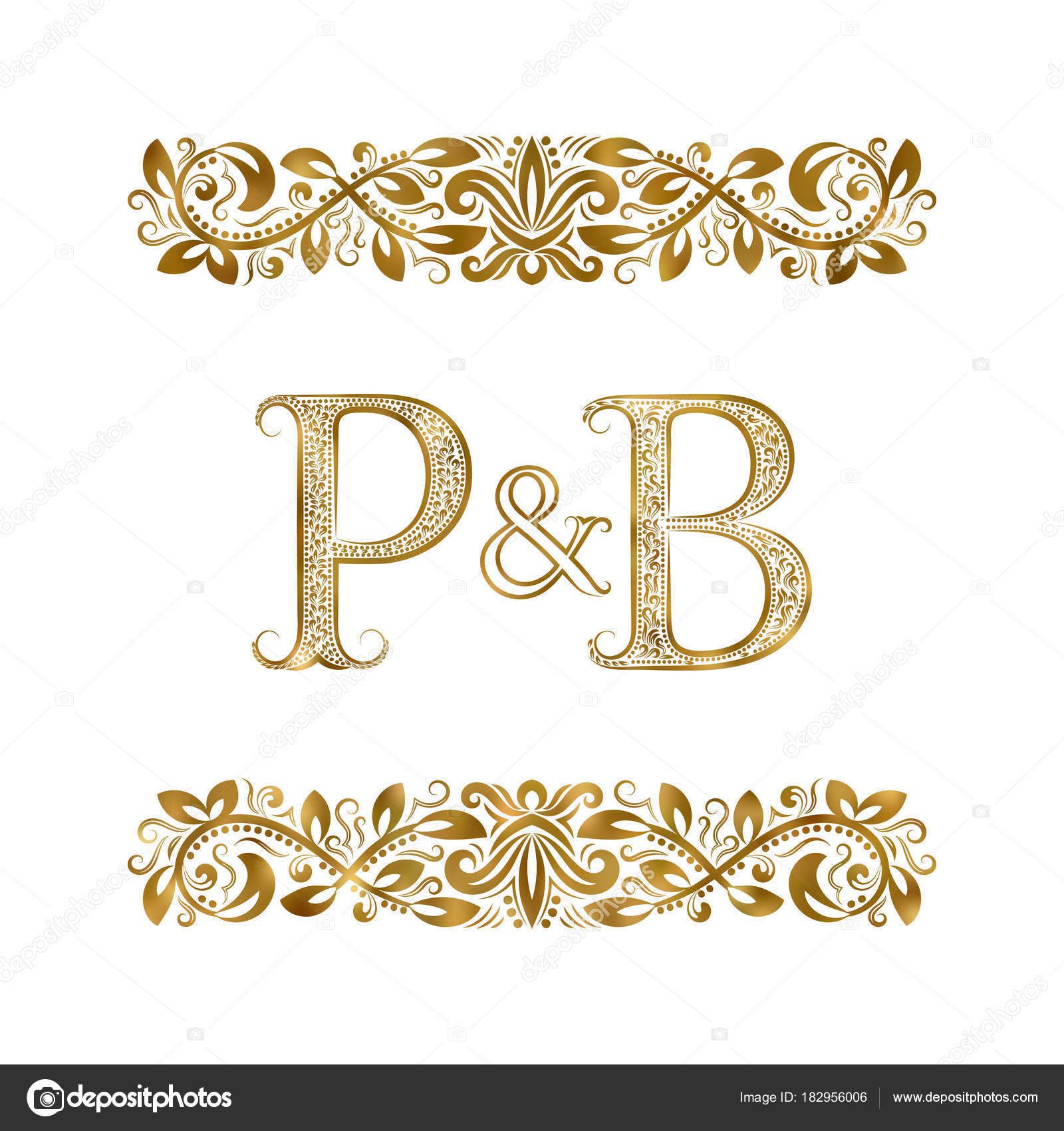 P And B Vintage Initials Logo Symbol The Letters Are Surrounded By Ornamental Elements Wedding Or Business Partners Monogram In Royal Style
