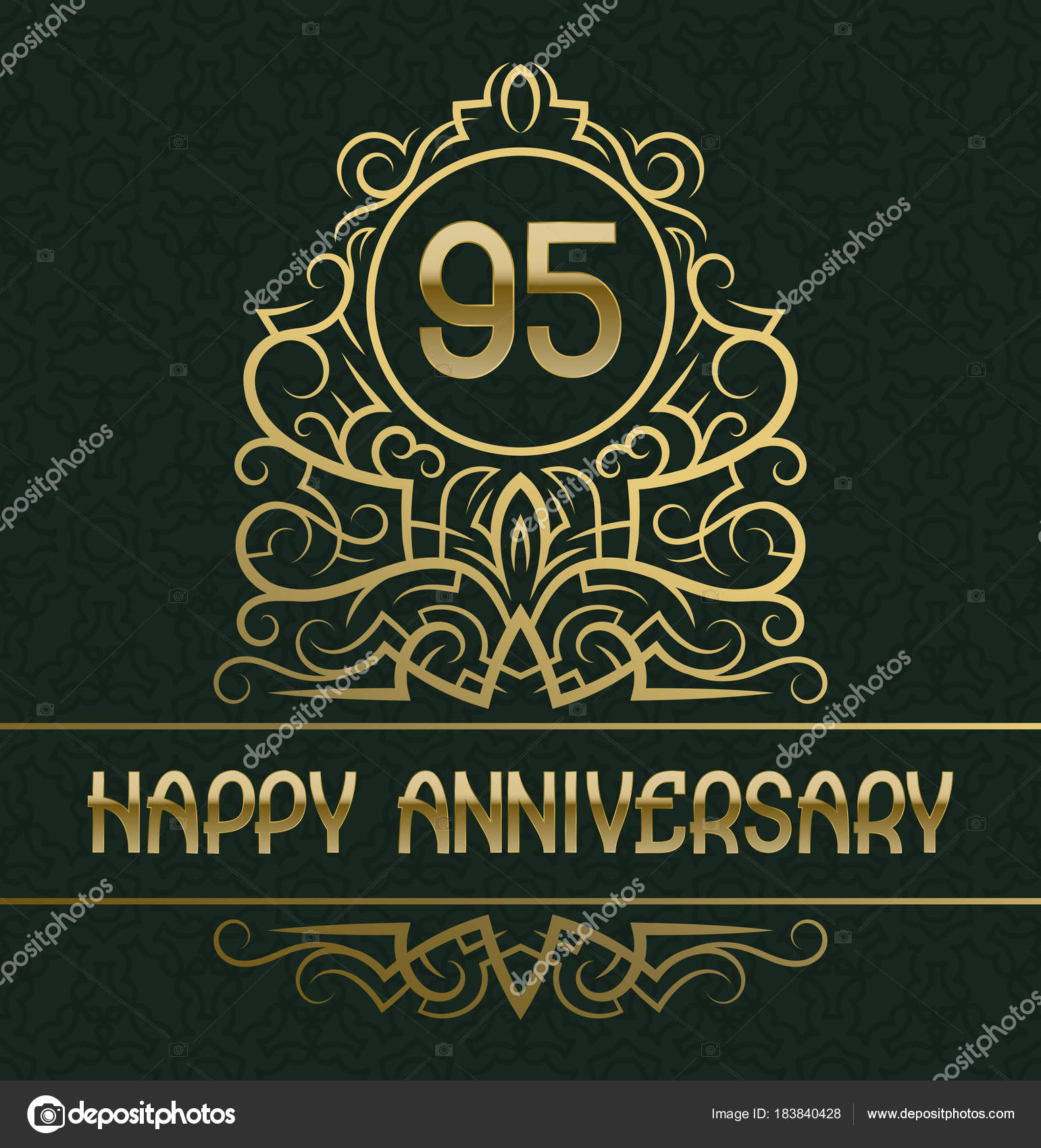 happy anniversary greeting card template for ninety five years celebration vintage design with golden elements