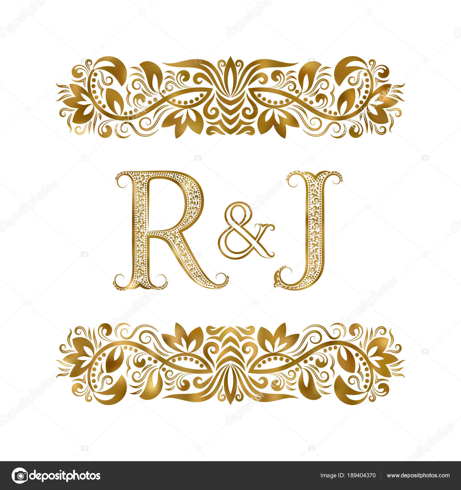 R And J Vintage Initials Logo Symbol The Letters Are Surrounded By Ornamental Elements Wedding Or Business Partners Monogram In Royal Style