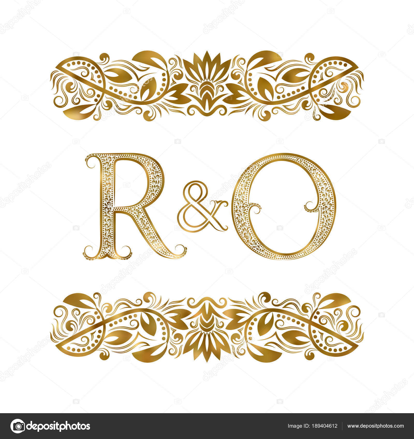 R And O Vintage Initials Logo Symbol The Letters Are Surrounded By