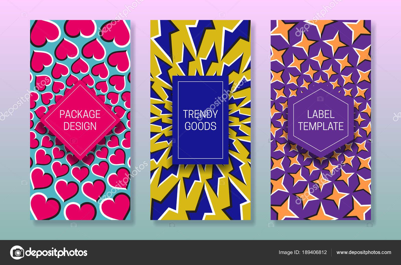 Optische Täuschung-Verpackungs-Design. Reihe von bunten Etiketten ...