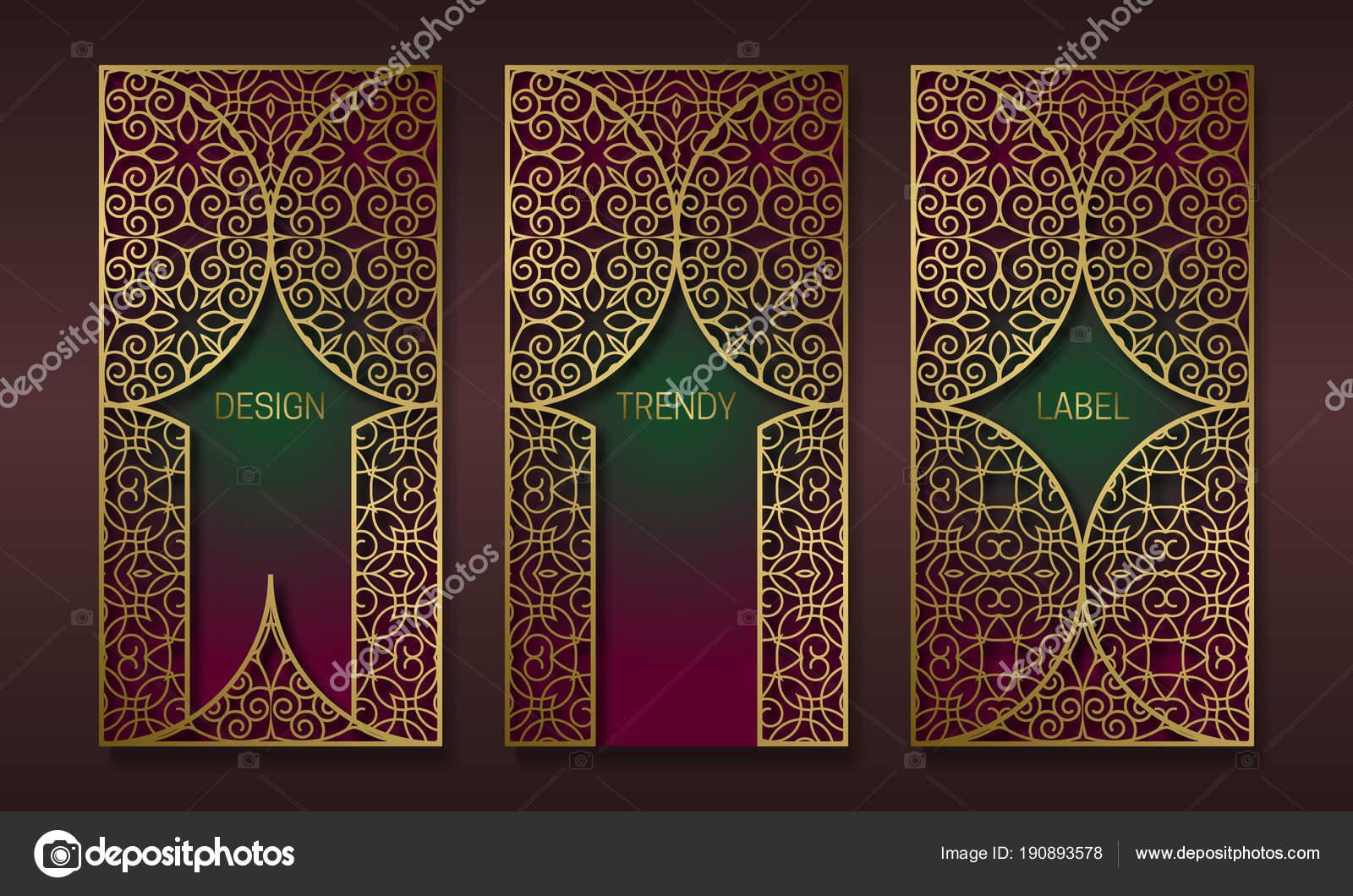 Diseño de packaging Vintage oro en estilo oriental. Conjunto de ...