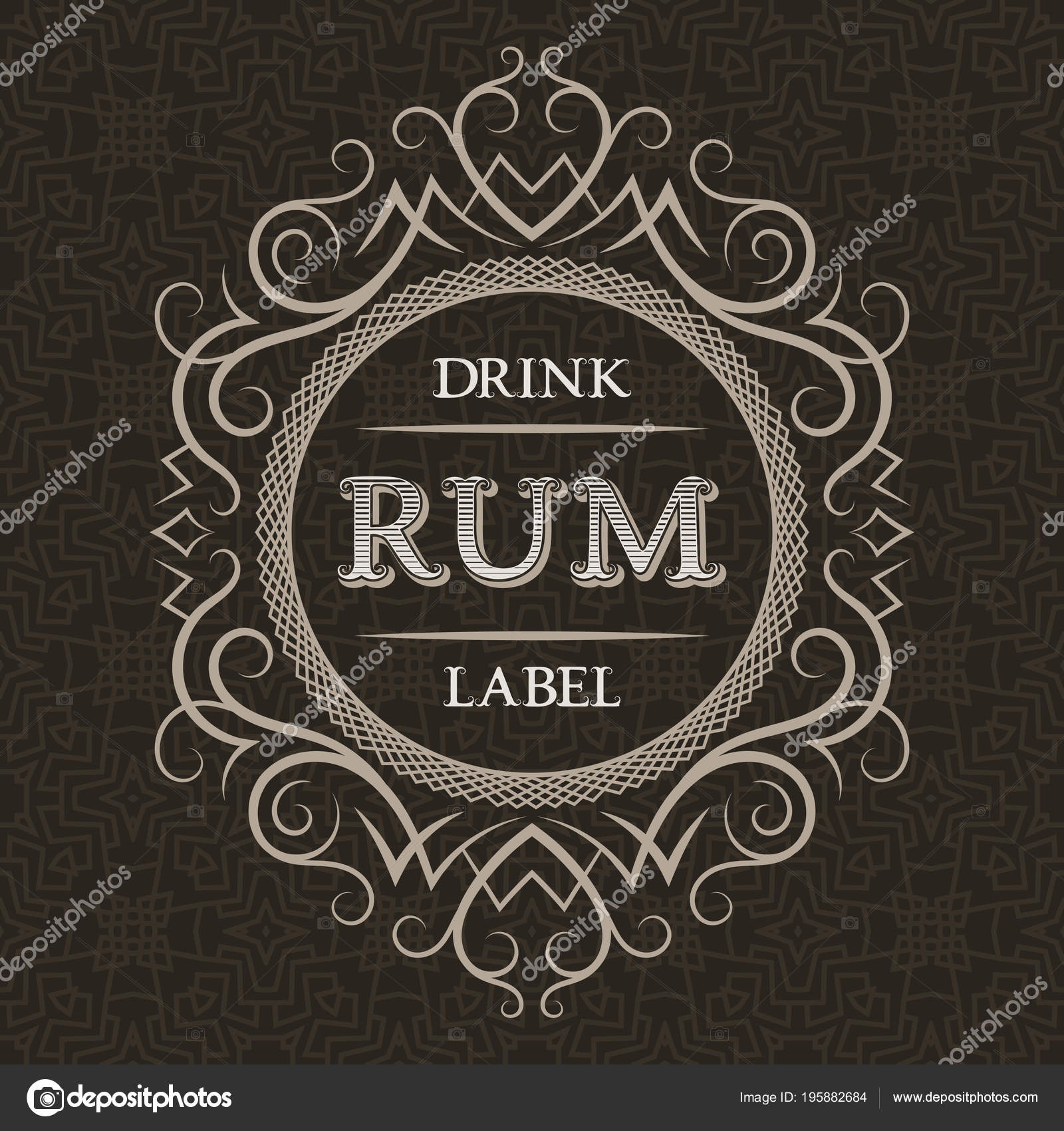 Rum Drink Label Design Template Patterned Vintage Frame Text Pattern ...