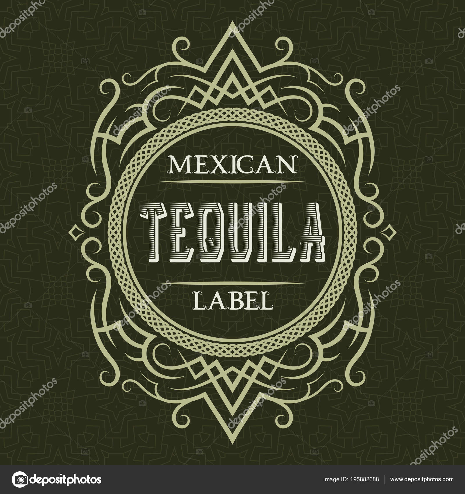 Tequila Mexican Label Design Template Patterned Vintage Frame Text ...