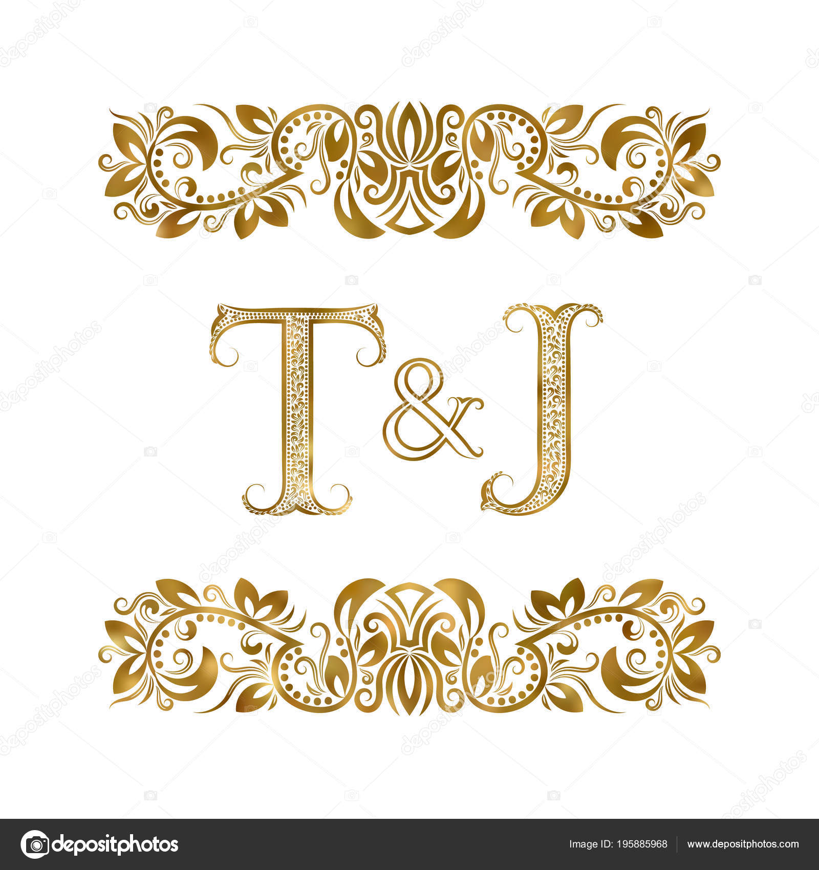 T And J Designs.Vintage Initials Logo Symbol Letters Surrounded Ornamental