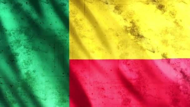 Benin Flag Grunge Animation, Full HD, 1920x1080 Pixel, Verlängert die Dauer gemäß Anforderung mit Seamless Loop