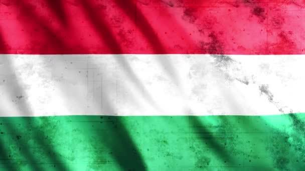 Magyarország Flag Grunge Animation, Full HD, 1920x1080 Pixel, A zökkenőmentes hurok követelményének megfelelően hosszabbítsa meg az időtartamot
