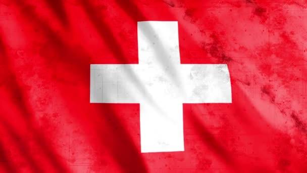 Švýcarsko Vlajka Grunge Animace, Full HD, 1920x1080 pixelů, Prodloužit trvání podle požadavku s bezešvé smyčky