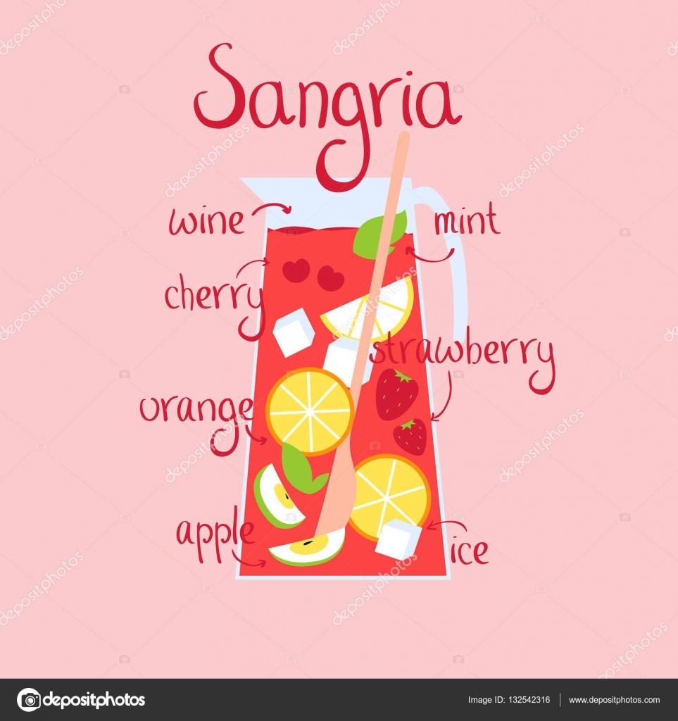 Sangria Rezept mit Beeren — Stockvektor © merion_merion #132542316