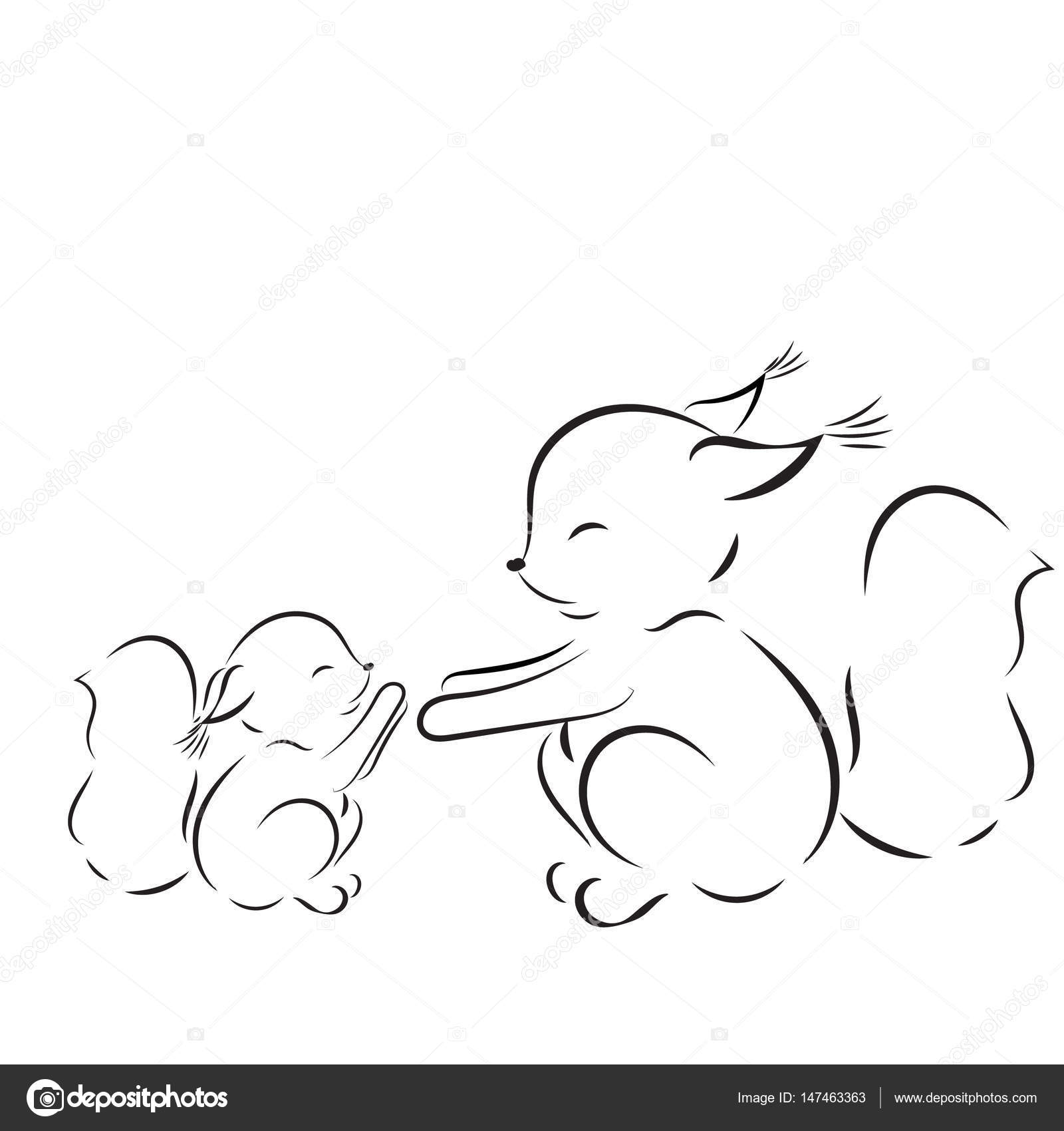 Boyama Sayfası Sincap Anne Ve Bebek çizim Vektör Anahat Stok