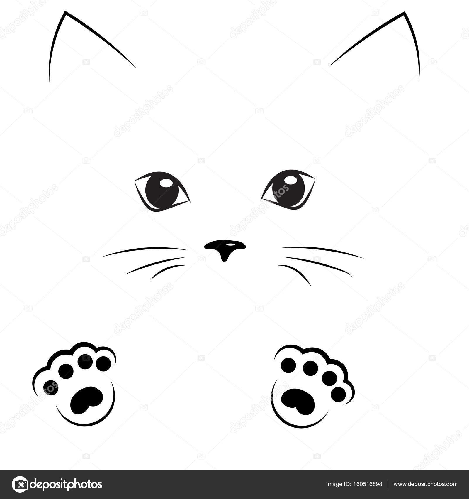 Patas De Gatos Para Dibujar Vector Negro Cara De Gato Con Patas De