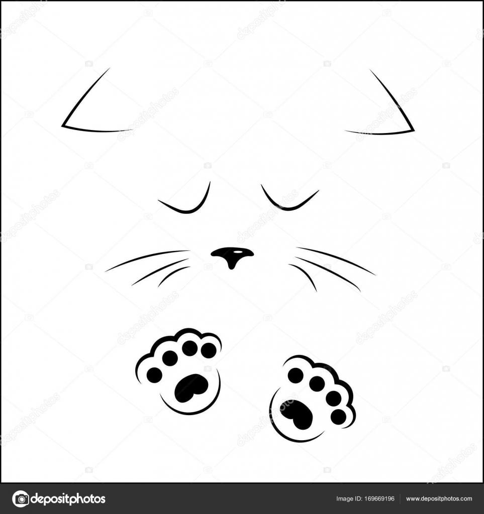 contorno preto rosto triste gato com patas de desenho de vetor