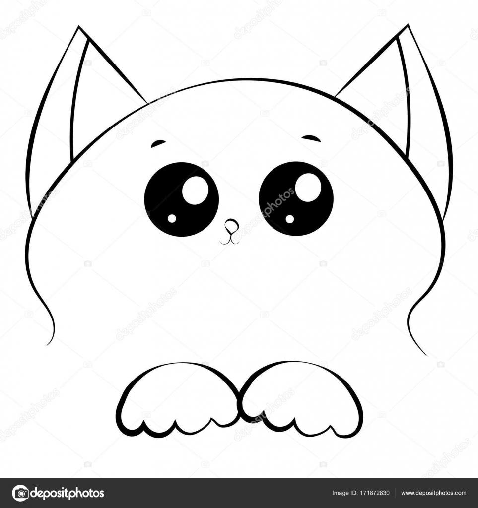 Dessin Visage Noir Et Blanc contour de vector noir et blanc dessin de visage de chat avec pattes