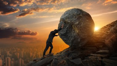 Business man pushing large stone up to hill , Business heavy tas