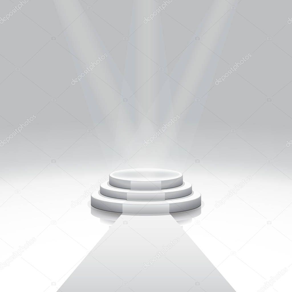 Illuminated 3d isolated Empty podium and carpet for reward