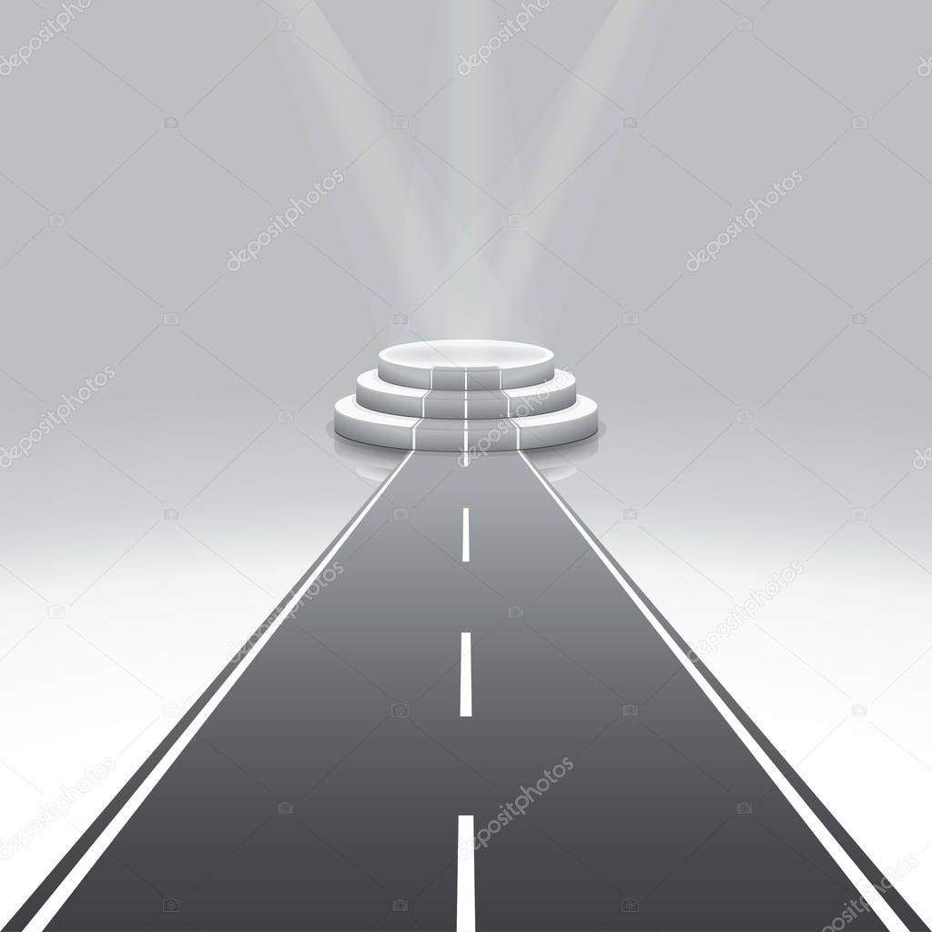 Illuminated 3d isolated Road to Empty podium for reward