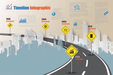 City Timeline Infographic, Vector Illustration