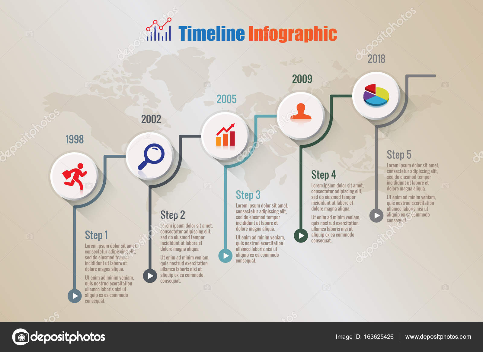 modern business timeline infographic process template stock vector