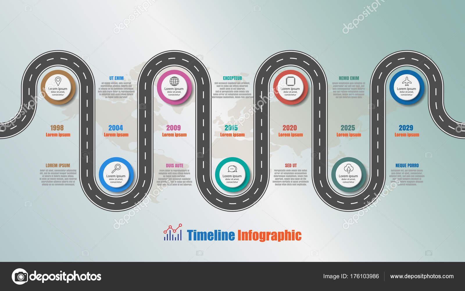 Infografía Línea Tiempo Ruta Con Círculo Pasos Diseñado Para ...