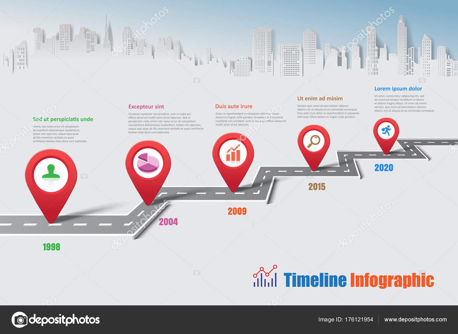 Cidade Infográfico Timeline Roteiro Comercial Projetada Para