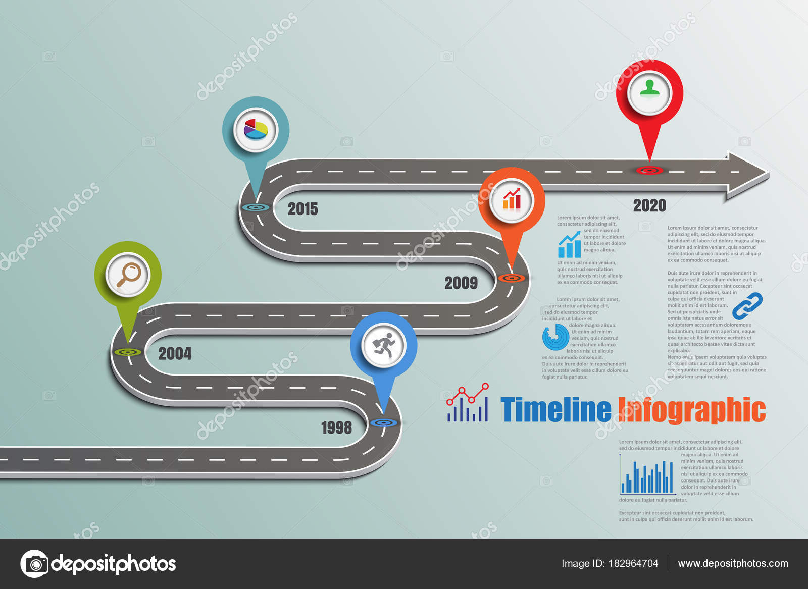 business road map timeline infographic icons designed abstract background template stock vector