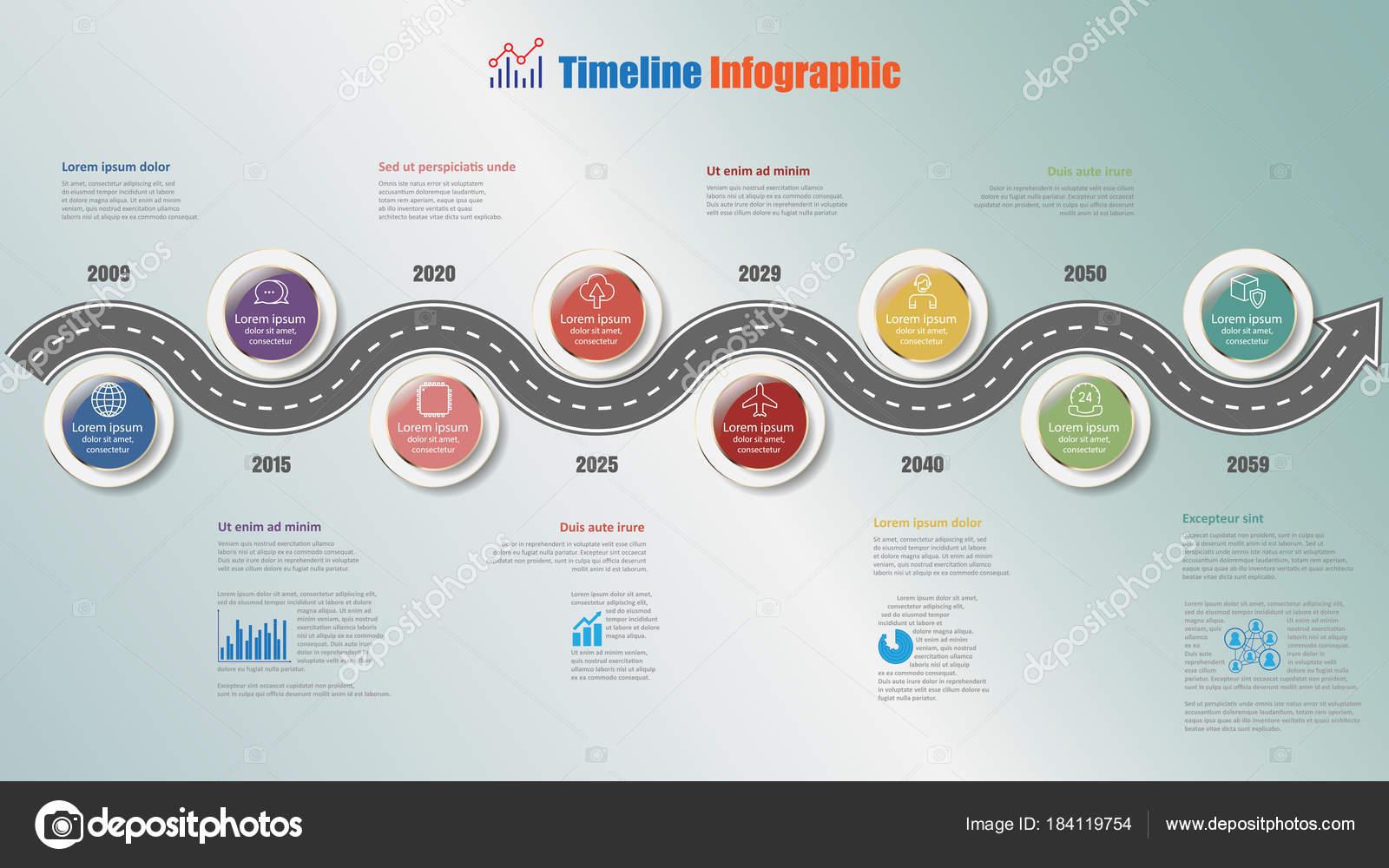 Ruta Negocios Infografía Línea Tiempo Con Pernos Paso Diseñado Para ...