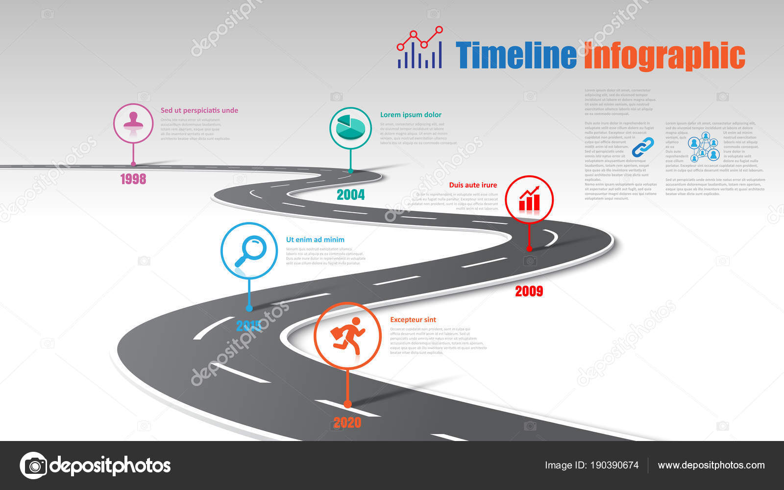 business road map timeline infographic template pointers designed abstract background stock vector