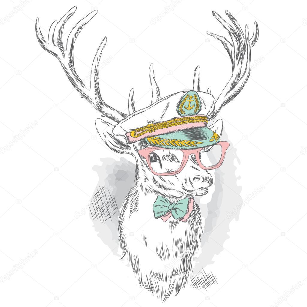 bf1e1d87838 Krásný jelen v kapitánské čepice