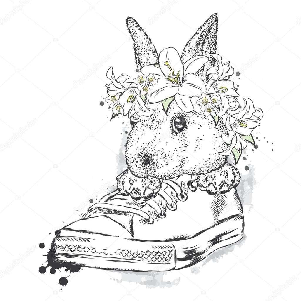 Einem Blumen Niedlichen In Sitzend KranzHase Kaninchen 6IYfyvbg7