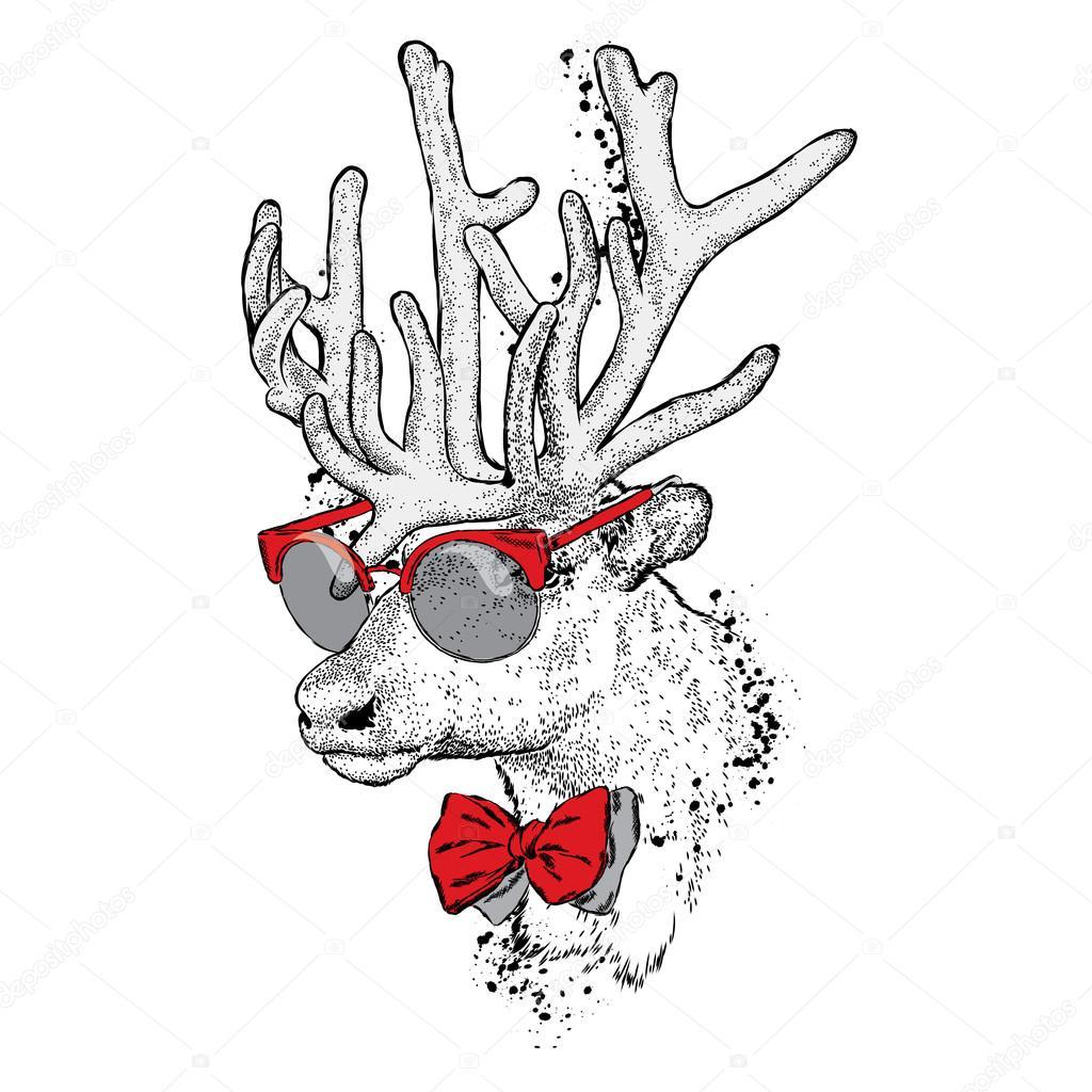 Piękny Jeleń Z Okulary I Krawat Ilustracja Wektorowa Karty