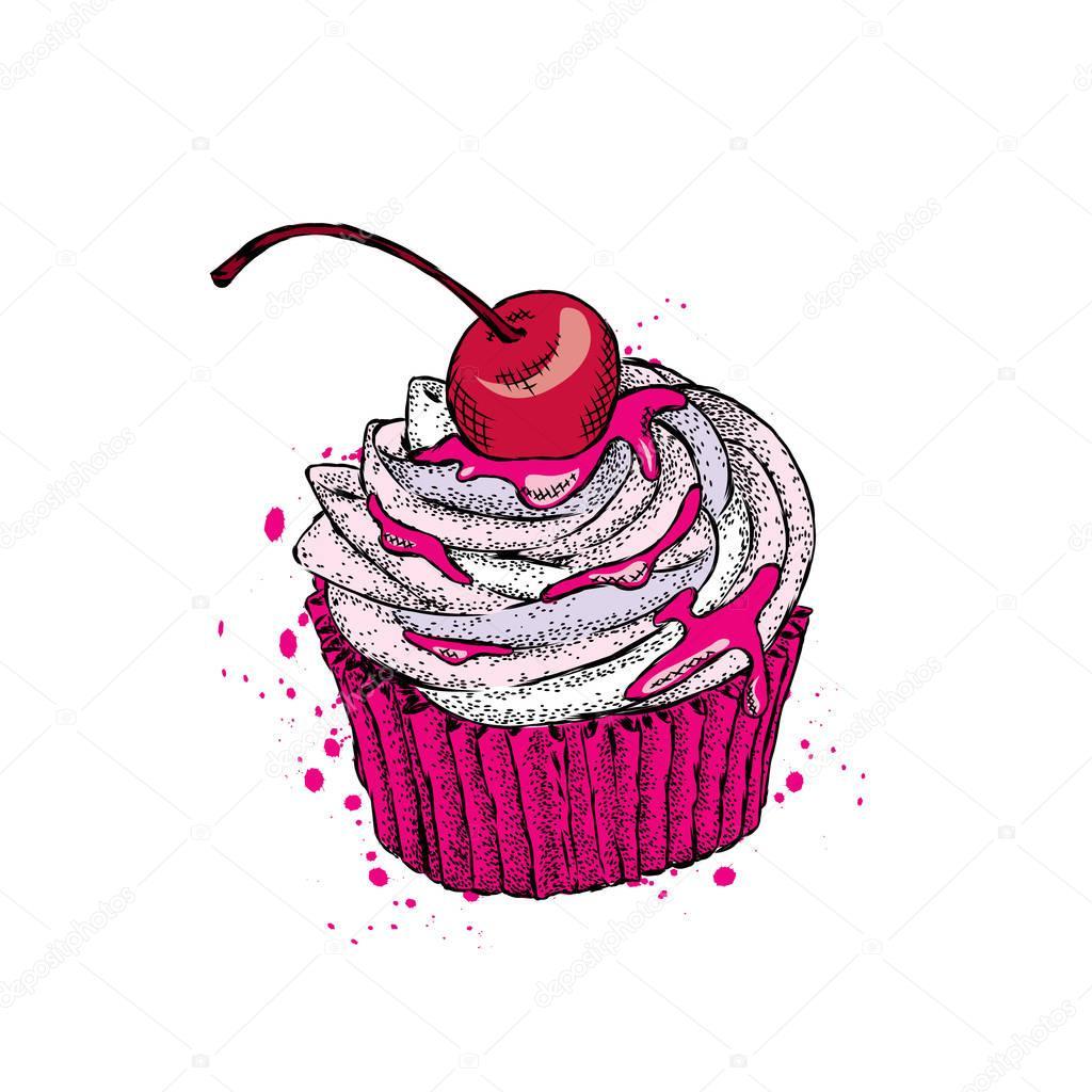 Hermoso pastel con cerezas. Ilustración de vector — Archivo Imágenes ...