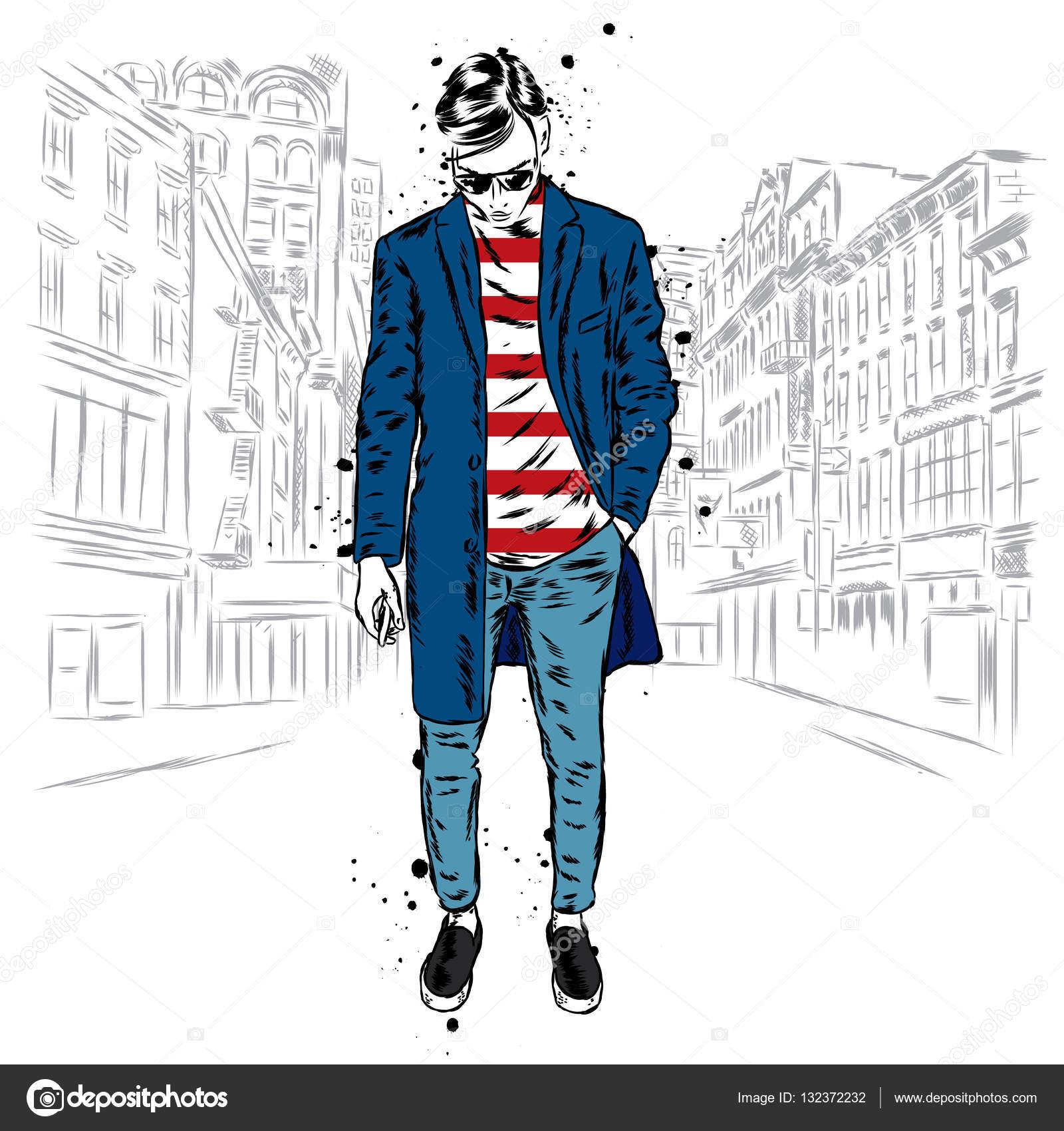 Uomo alla moda in un cappotto e pantaloni. Illustrazione di vettore. Moda  stile  . Vestiti e accessori — Vettoriali di VitalyGrin bc212d12877