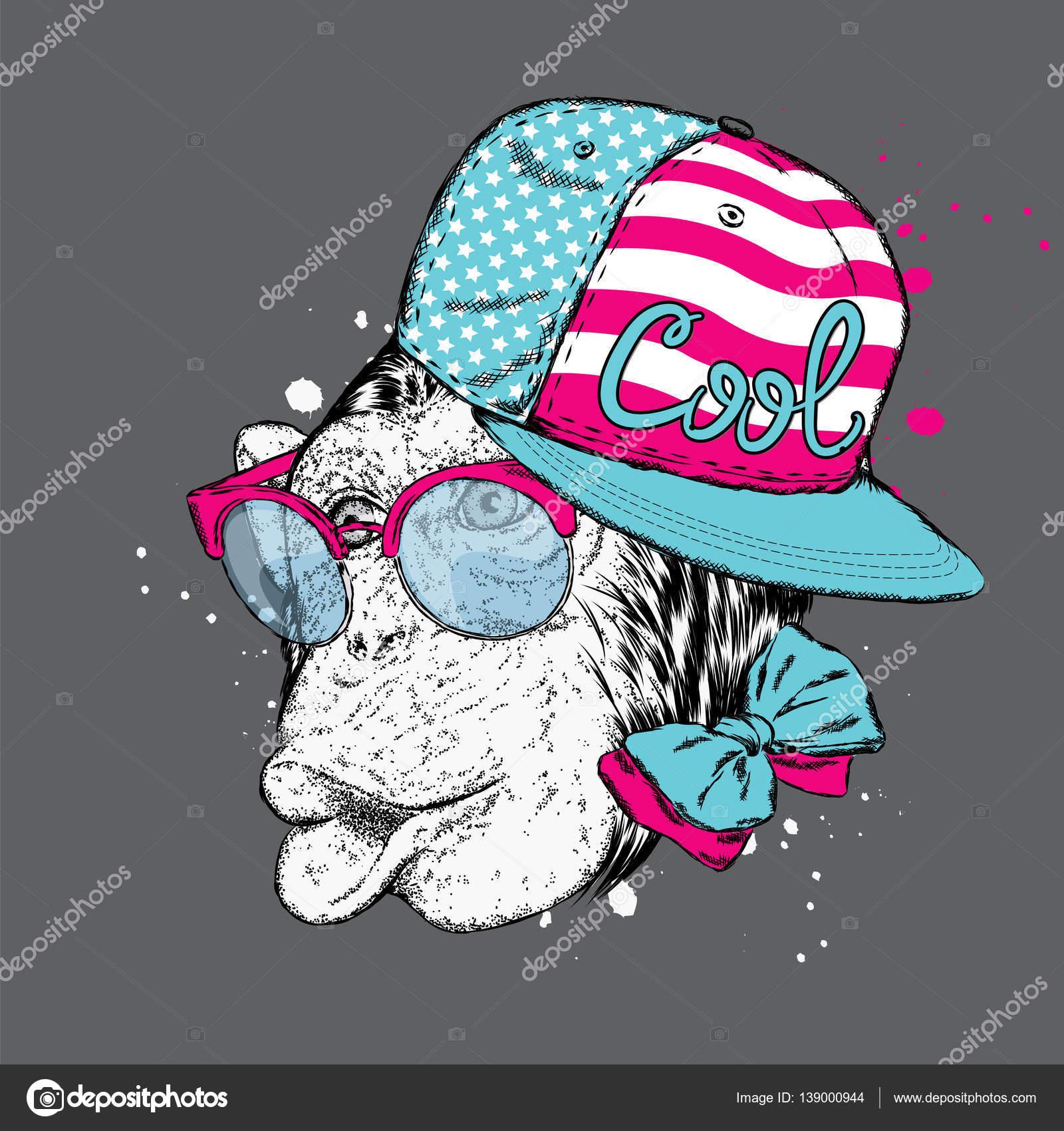 8ce9ffabf8fb6 Macaco engraçado boné e óculos de sol à moda. Ilustração vetorial para um  cartão ou