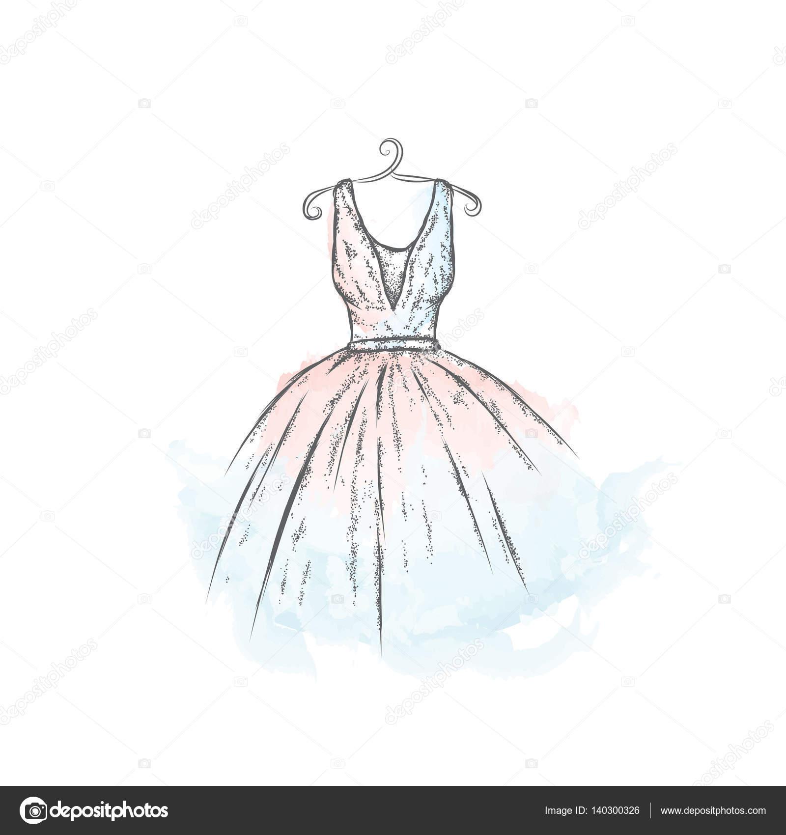Dibujo Vestido Vintage Vestido En El Vector Ropa De