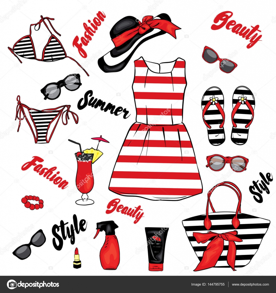 A set of summer clothes and accessories. Beach bag b4e80748e6a7