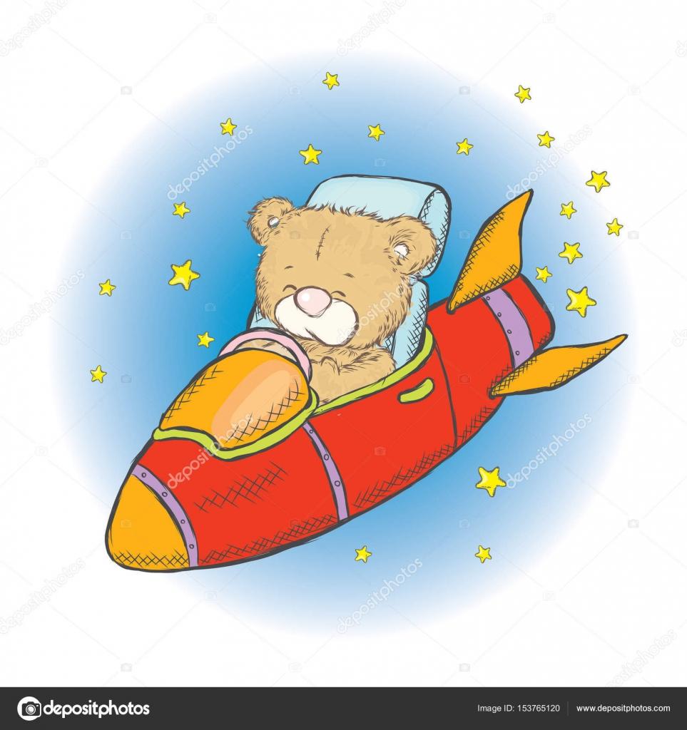 宇宙船の中のかわいいテディベアカードやポスターのベクトル図です