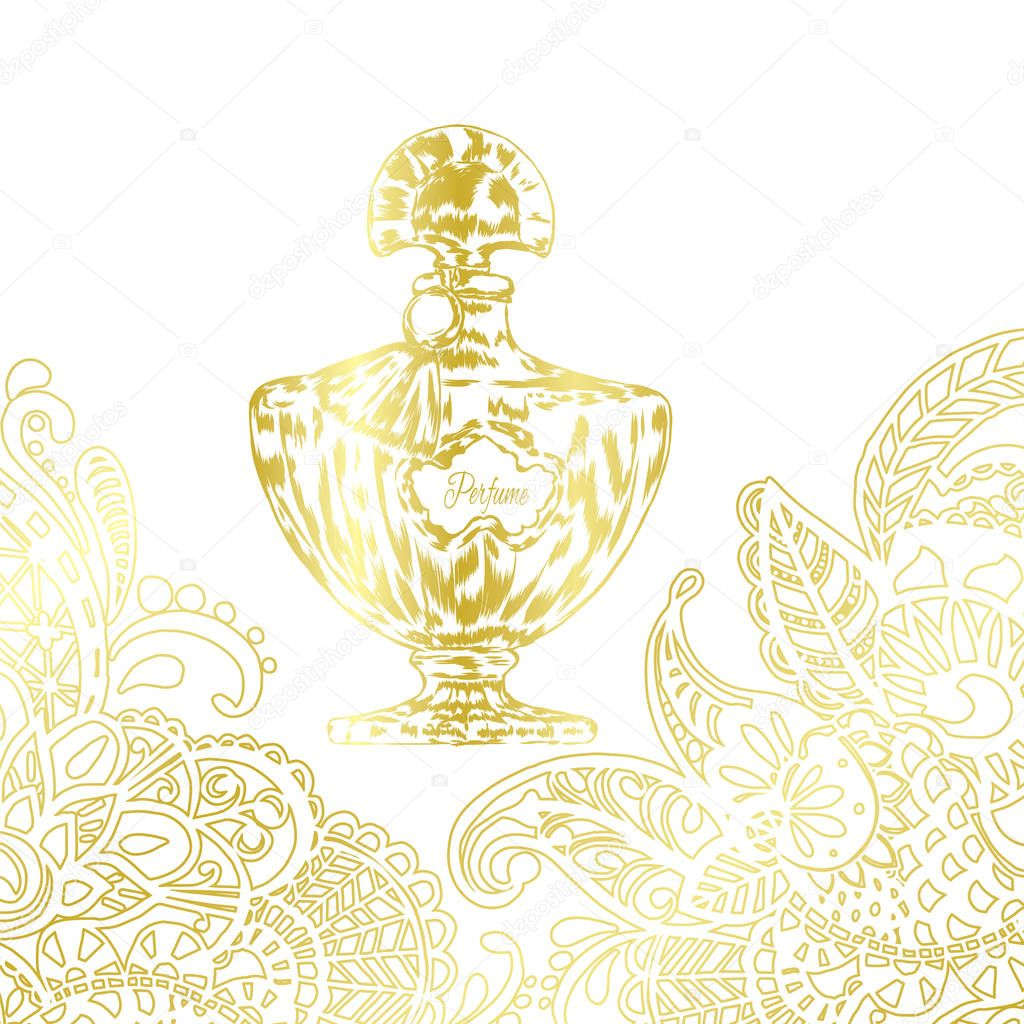 A beautiful bottle of perfume and oriental patterns. Vector illustration for a postcard or a poster, print for clothes. Styling for embossing with gold.