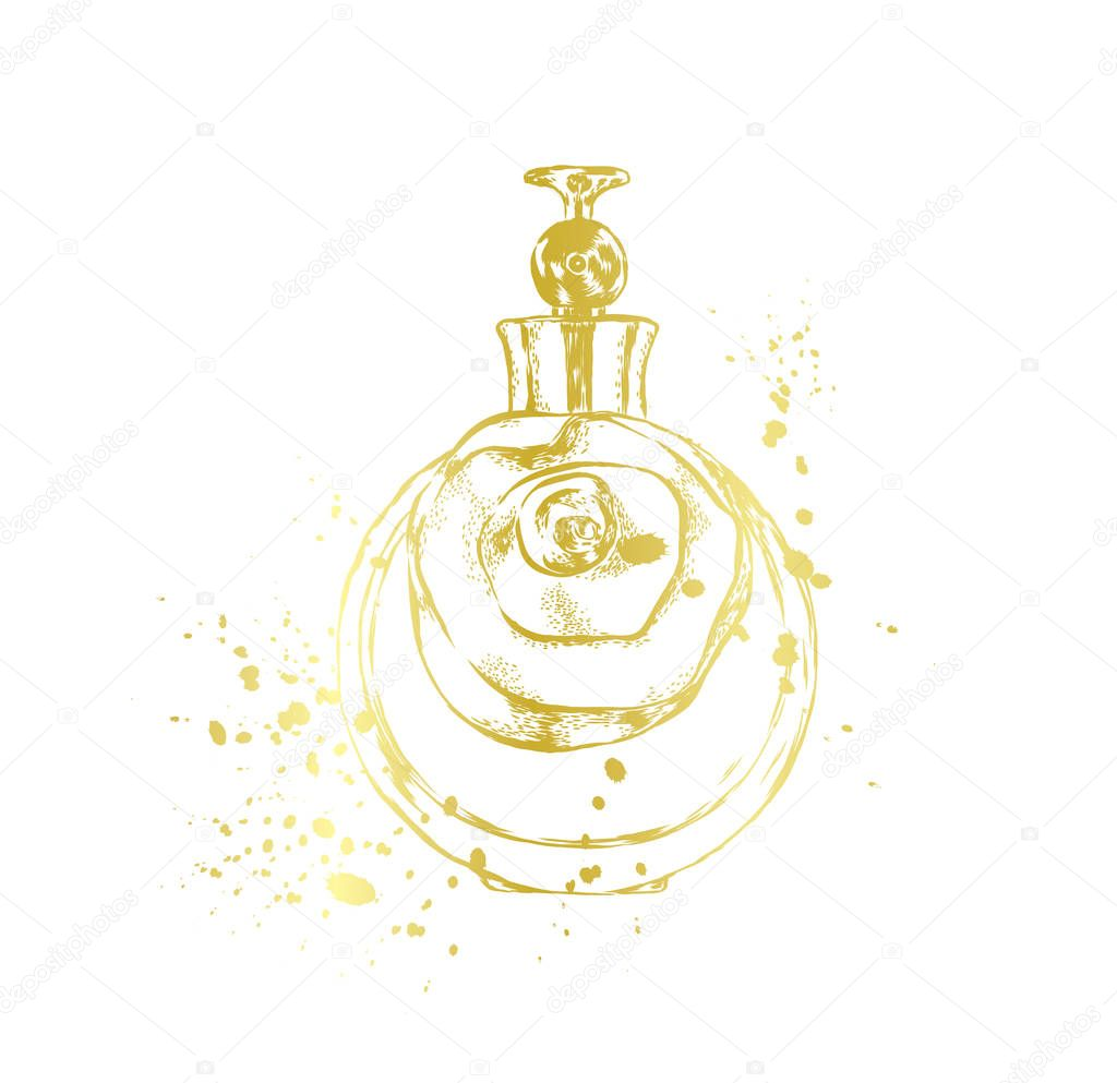 A beautiful bottle of perfume. Vector illustration for a postcard or a poster, print for clothes. Styling for embossing with gold.
