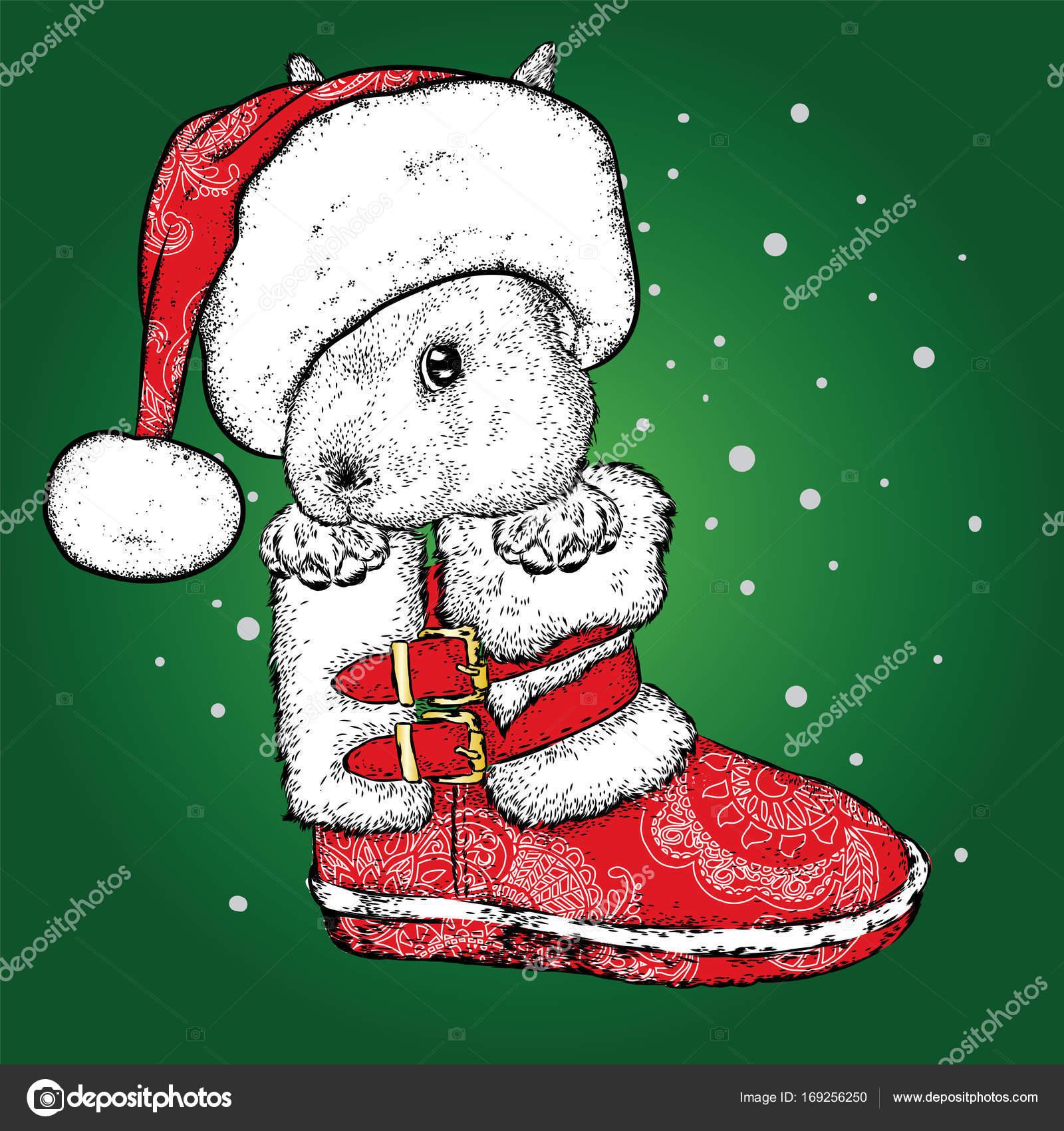 Un gracioso conejito en arranque de año nuevo y el sombrero de Santa ...